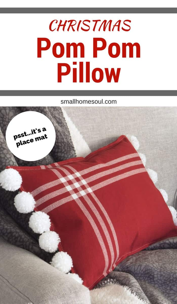 Pin this Christmas Pom Pom pillow so you can find it later.