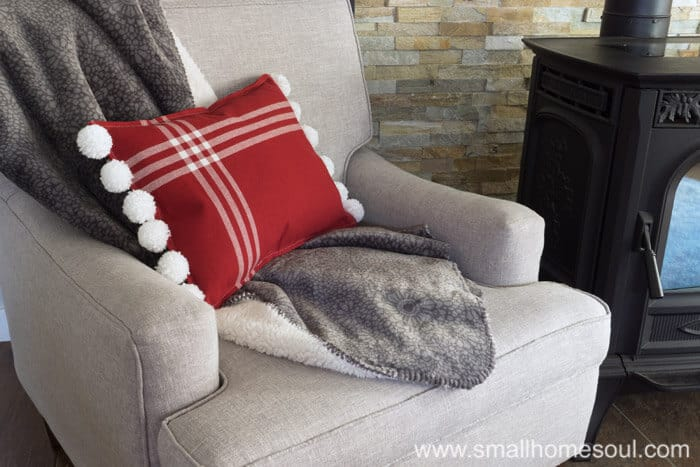 Lounging with Christmas Pom Pom Pillow