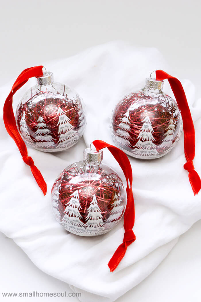 Trio of easy ornament updates ready for gifts.