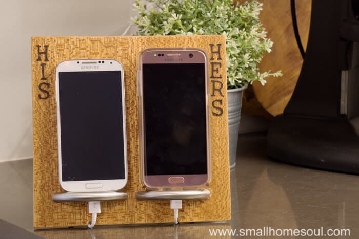 Phone charging stand with his & hers phones.