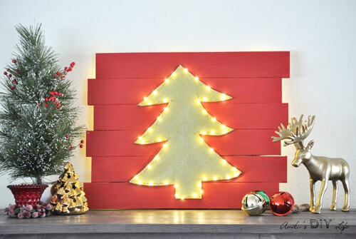 Red Christmas Decor Lighted Tree by Anika's DIY Life.