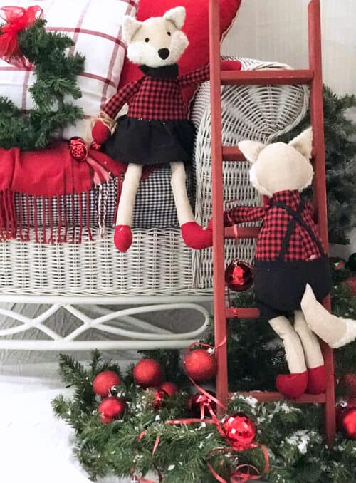 Red Christmas Decor Ladder by The Chelsea Project.