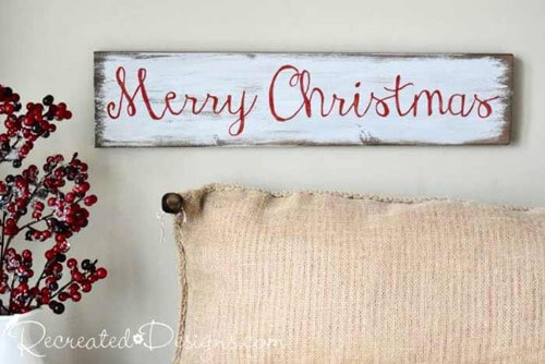 Red Christmas Decor Sign by Recreated Designs.