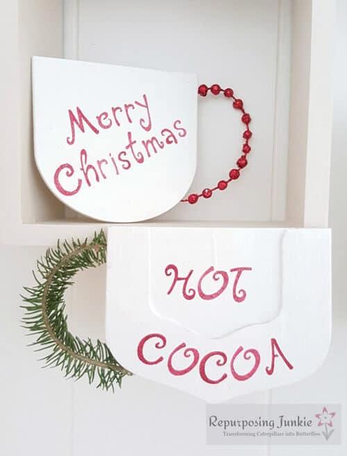 Red Christmas Decor Mugs by Repurposing Junkie.
