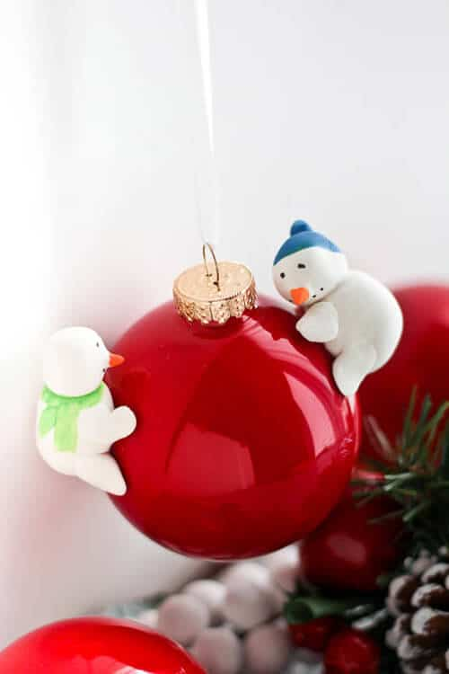 The Savvy Apron's cute snowman on red Christmas decor ornaments.