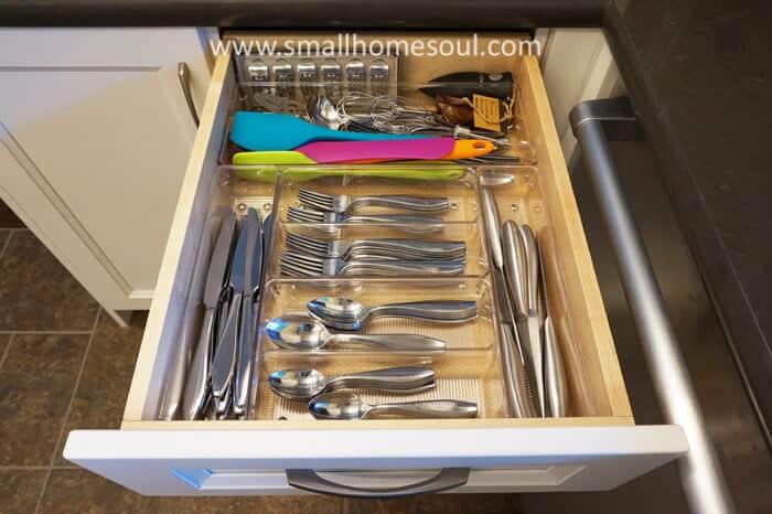 Silverware drawer after doing some kitchen drawer organization.