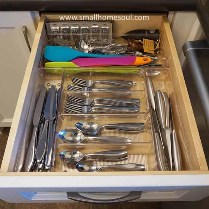 Easy kitchen drawer organization with pre-made bins.