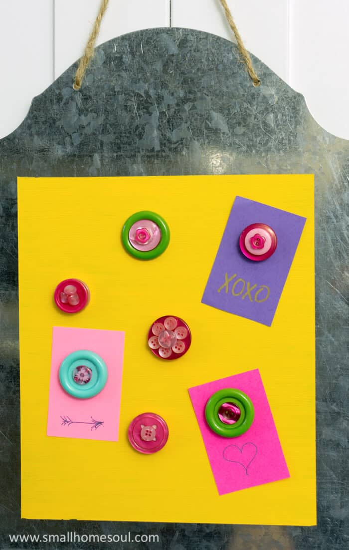 Magnetic Memo Board with cute button magnets and sweet notes.
