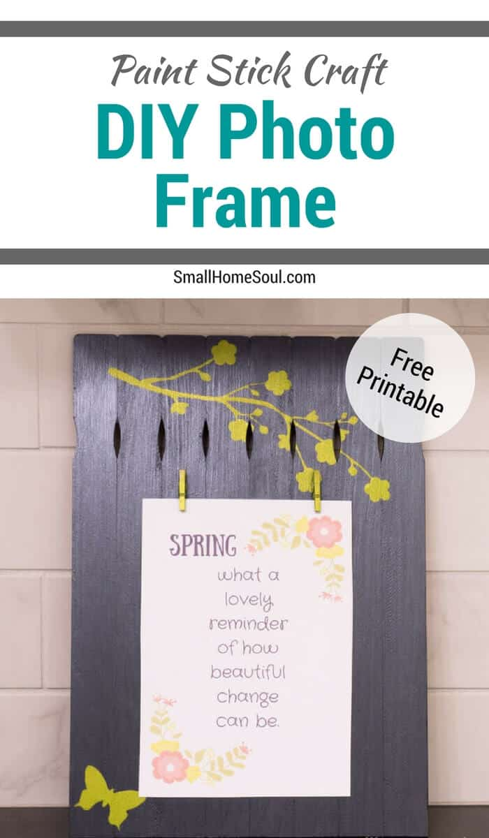 Paint Stick Photo Frame Craft with free printable.