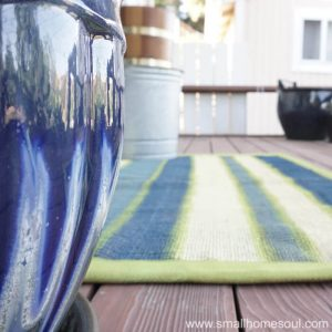 After you paint a rug show it off on your porch or deck.