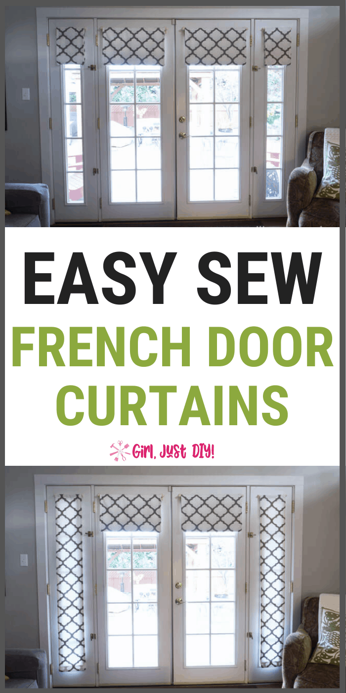 Tall collage with french door curtain pictures and text