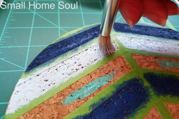 Painting lines of painted Ikea trivet.