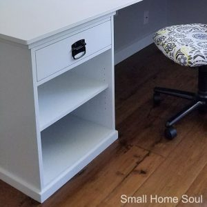 DIY L Shaped Desk with desk chair.