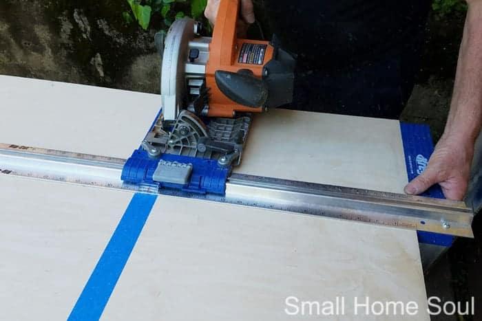 Cutting plywood for DIY L Shaped Desk