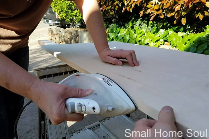 Iron on Edging for a smooth edge on your DIY L Shaped Desk.