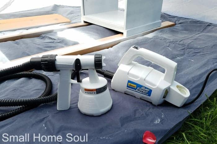 Thin primer in sprayer for DIY L Shaped Desk.