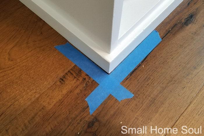 X marks the corner of your DIY L Shaped Desk.