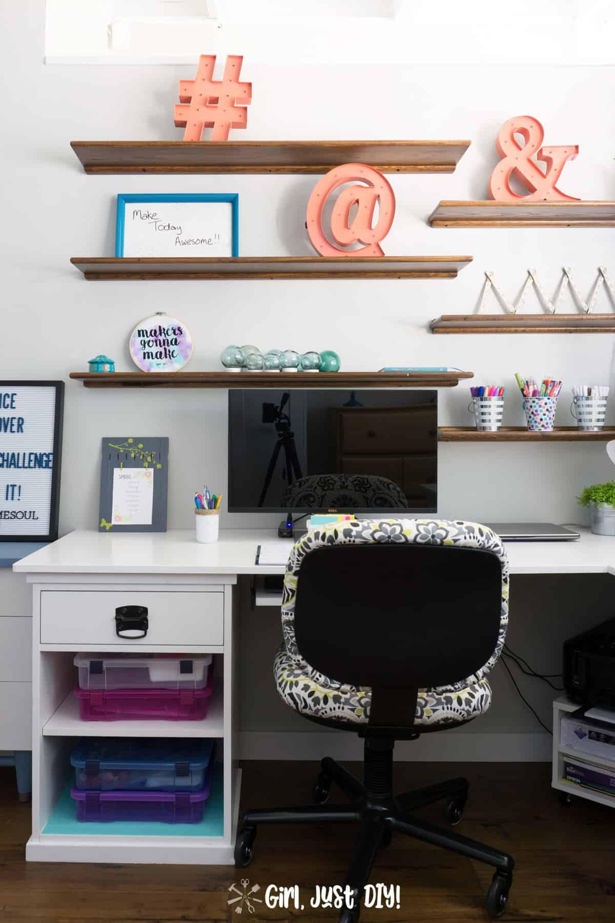 Left side of new DIY corner desk with shelves and desk chair