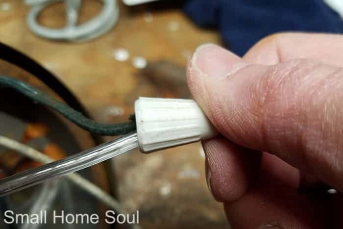 Install wire nut on wires for desk lamp makeover.