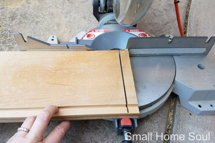 Chop saw cutting sides for an oil change kit wooden box.