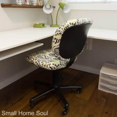 Office chair makeover finished and back at the desk.