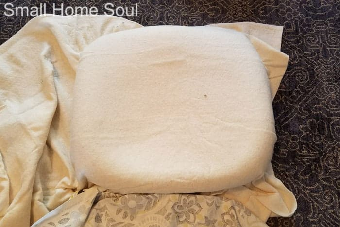 Add a layer of cotton batting during office chair makeover..