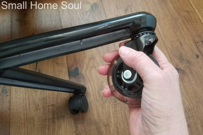 Install new wheels during office chair makeover.