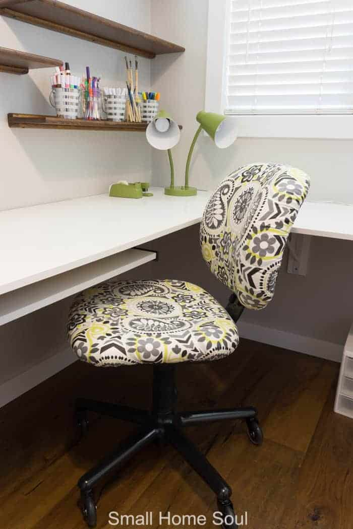 Reupholstered Office Chair Makeover is finished.