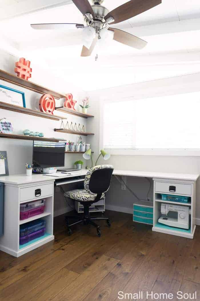 Office makeover corner view of desk.