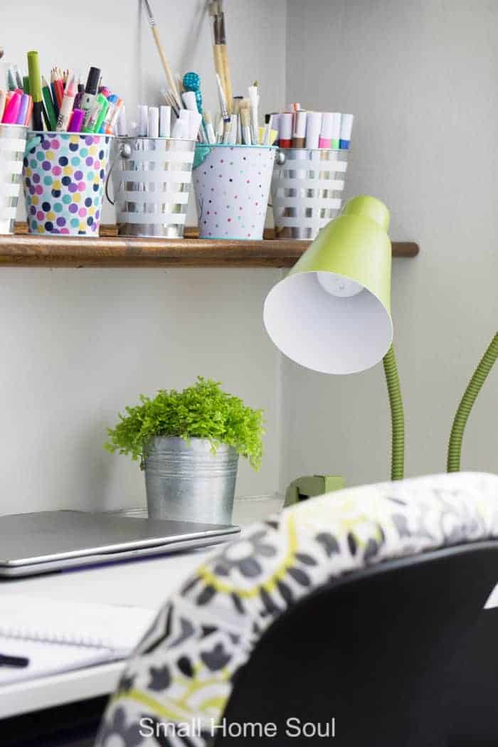 Green desk lamp for office makeover.