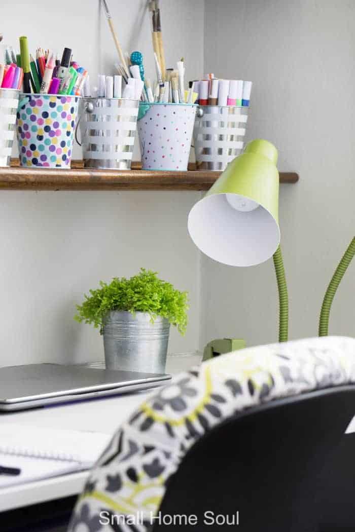 Green desk lamp for office makeover.