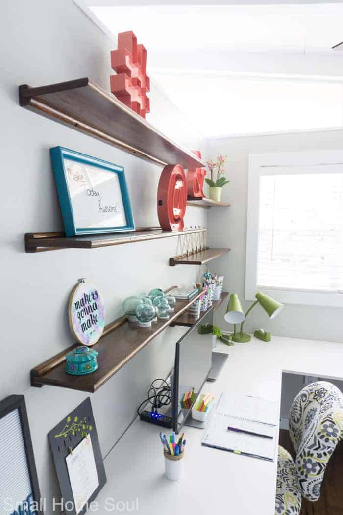 Styled shelves for office makeover.