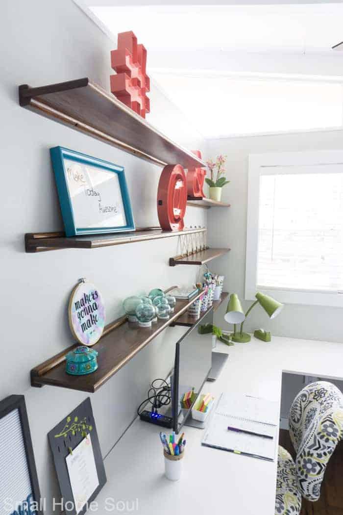 Styled shelves for office makeover.