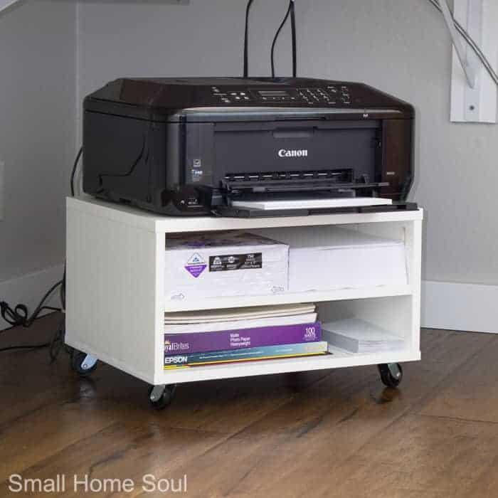 Rolling Printer Cart under desk.