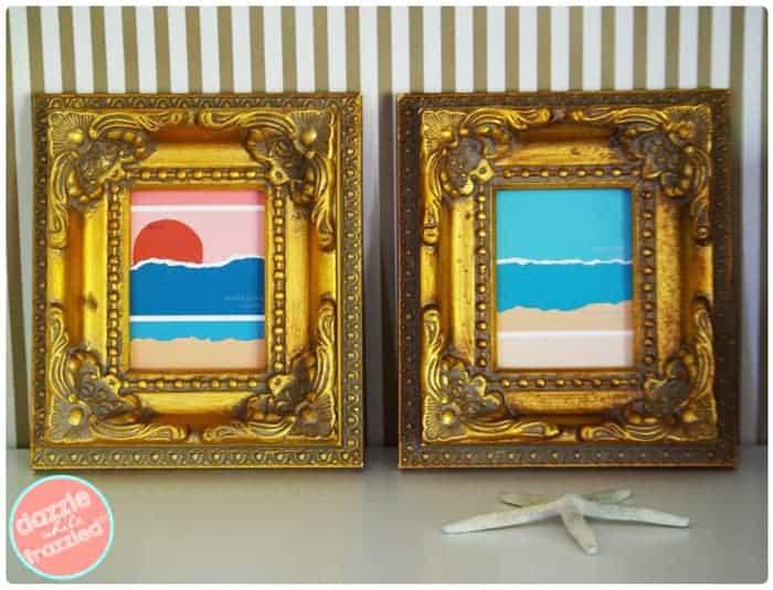 Using paint samples for creative coastal decor.