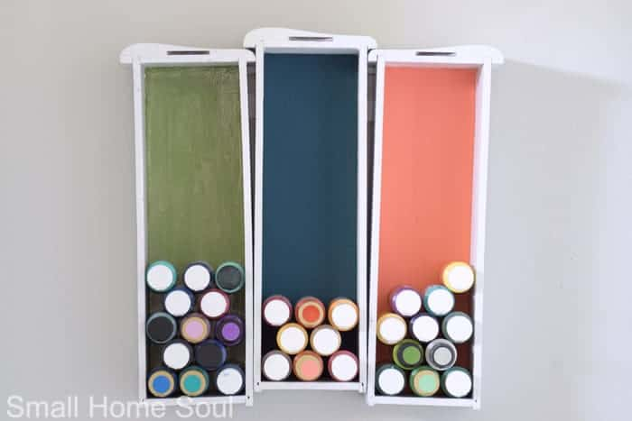 Creative Craft Paint Storage hanging in the office.