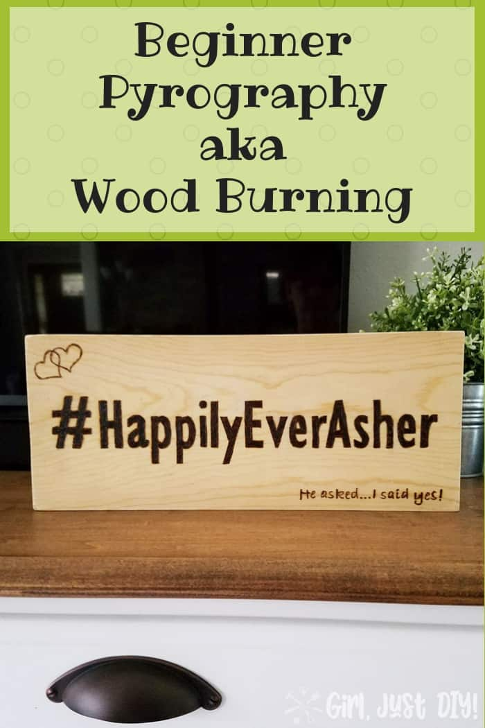 Pin this image image of beginner wood burning sign.