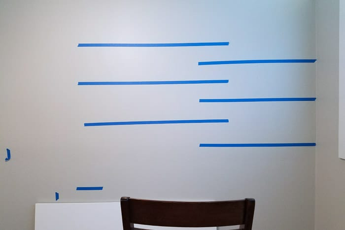 Wall layout for floating wood shelves.