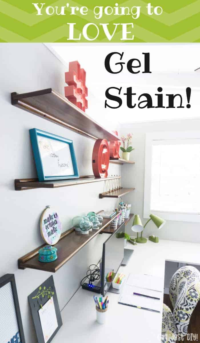 Gel Stain on Floating Wood shelves with decor items.