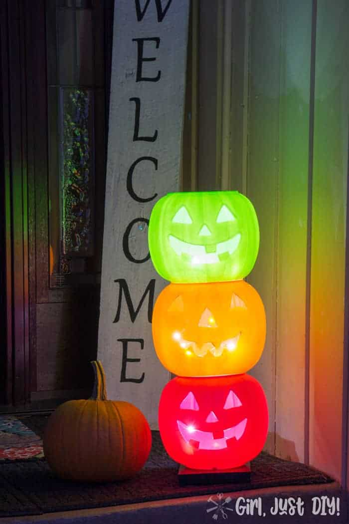 Lit on porch Light up Pumpkins.