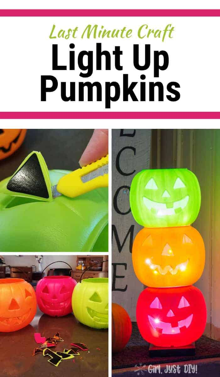 Collage of Light up pumpkins.