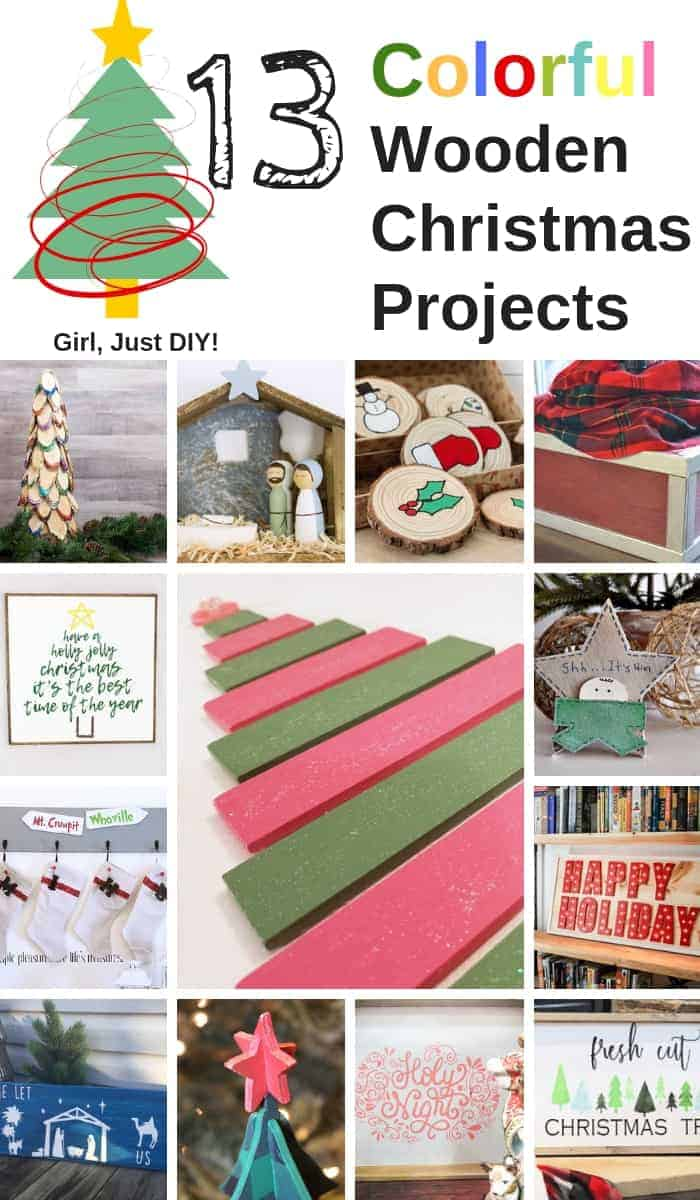 Collage of 13 colorful Wooden Christmas Projects.