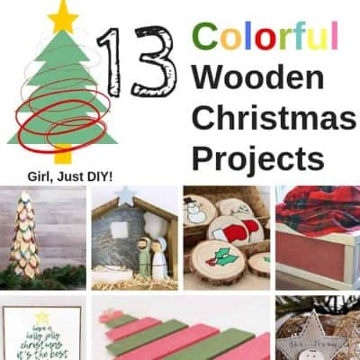 Collage of colorful wooden Christmas projects to make.