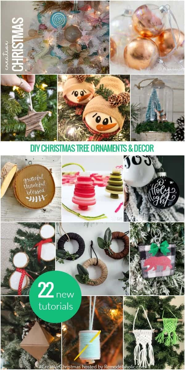 Collage of christmas projects with button christmas ornaments