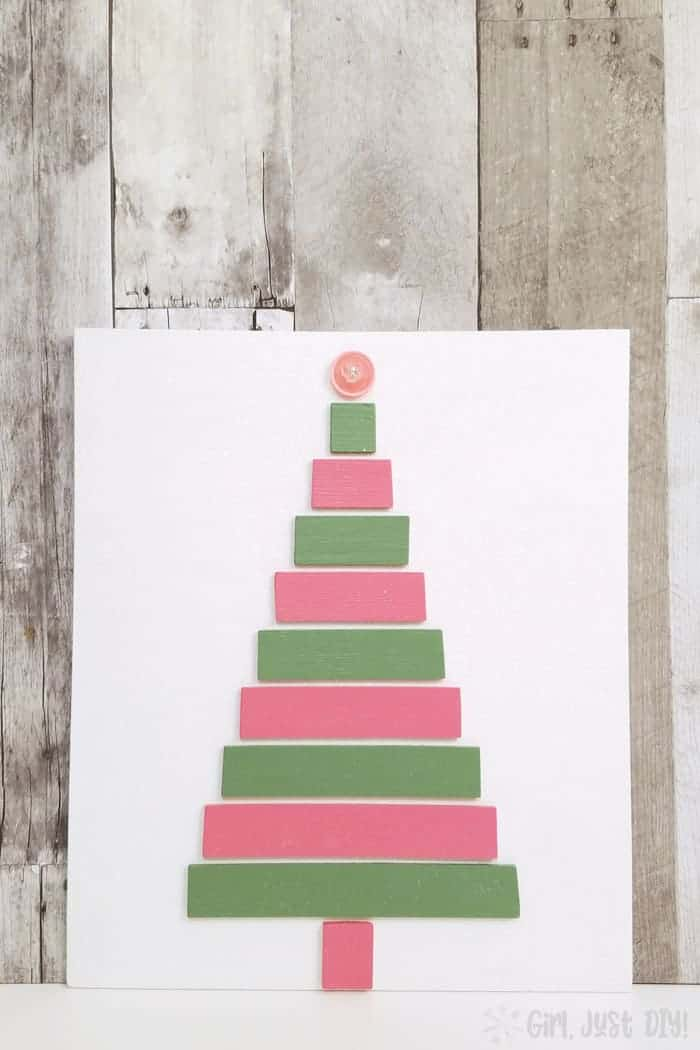 Completed pink and green christmas tree craft