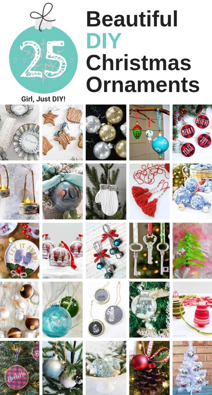 Full 25 ornament DIY Christmas Ornament collage for pinterest.