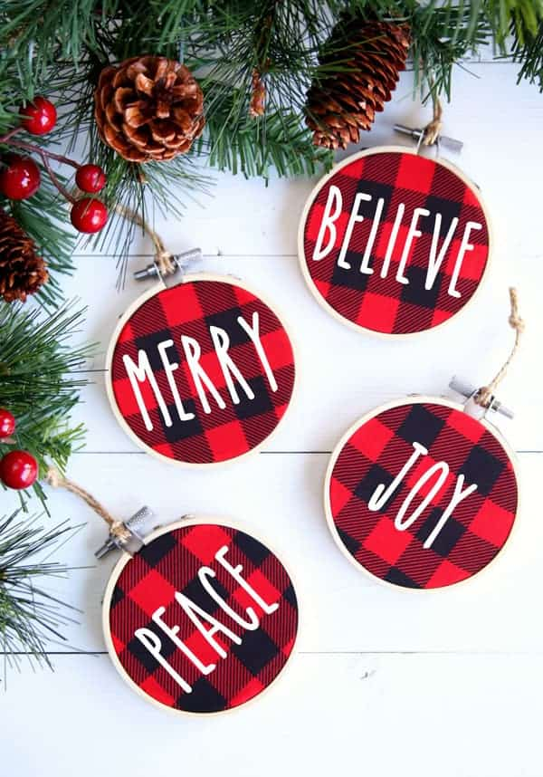 DIY Christmas Ornaments in red and black buffalo plaid with christmas words.