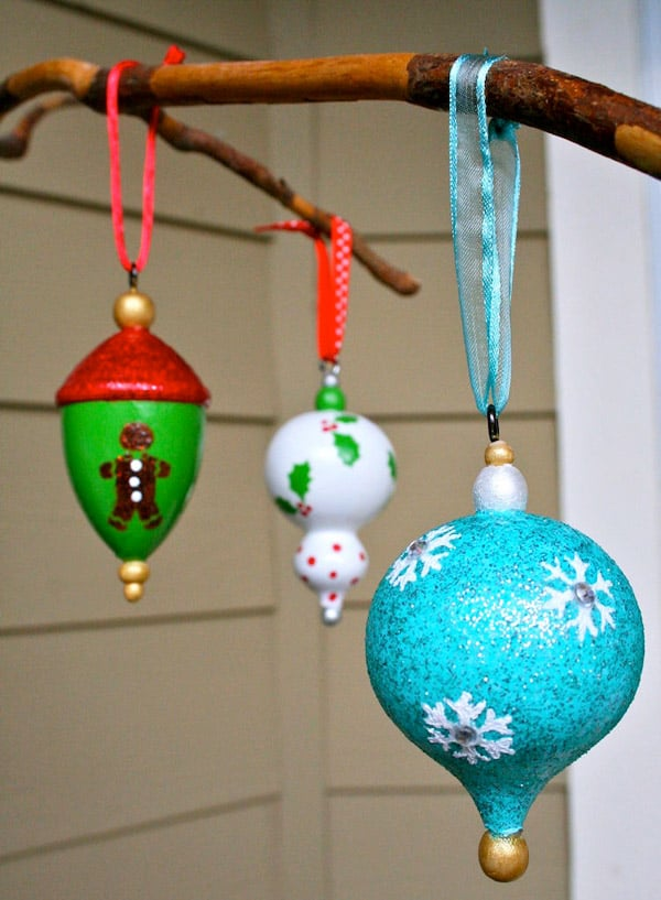 Colorful DIY Christmas Ornaments made with mod podge coated craft paint.