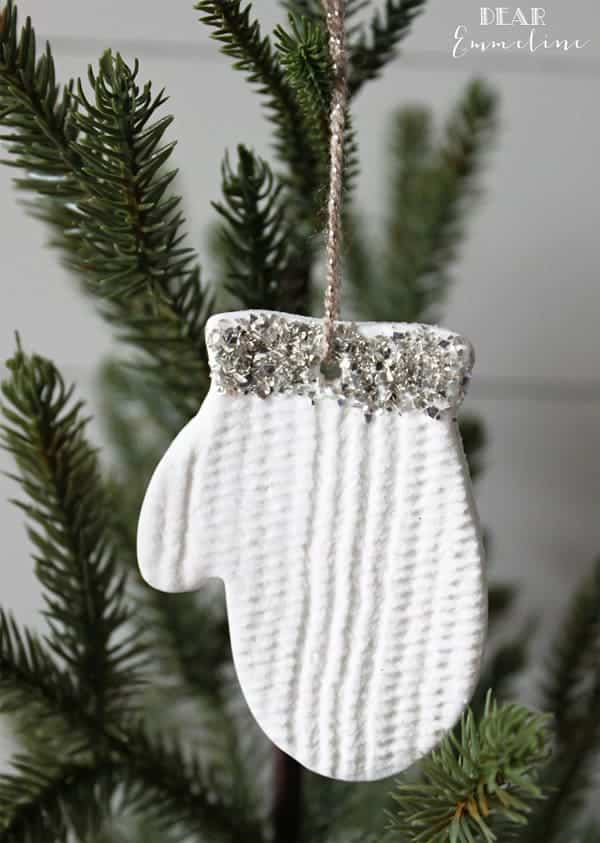 Clay mitten DIY Christmas Ornament with silver glitter cuff.