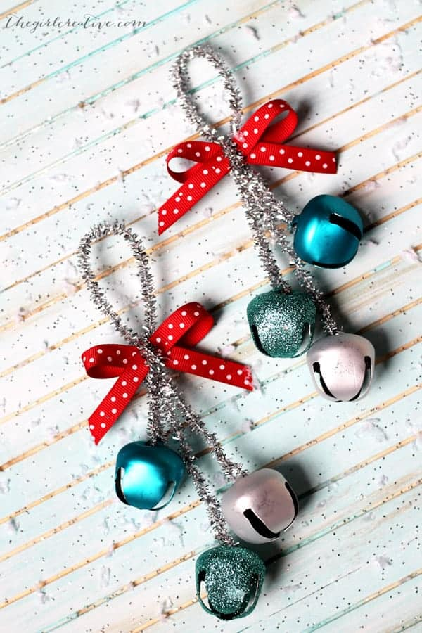 Silver Pipe cleaner DIY Christmas Ornaments with bells.